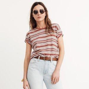 Madewell Bonnie Whisper Striped Crew Neck Tee - XL